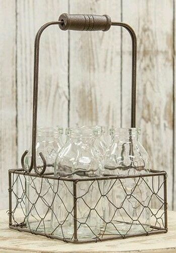 Vintage Inspired Chicken Wire Basket with 4 Cream / Mini Milk Bottles
