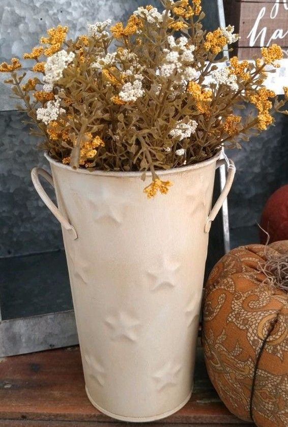 Farmhouse Cottage Cream Metal Flower Pail with Stars