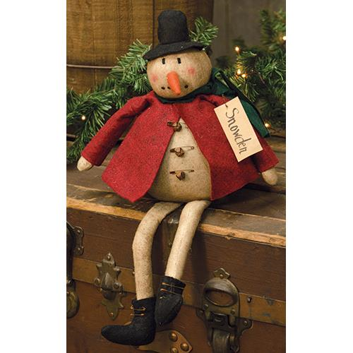 Rustic Country Fabric Winter Chubby Snowman Home Accent