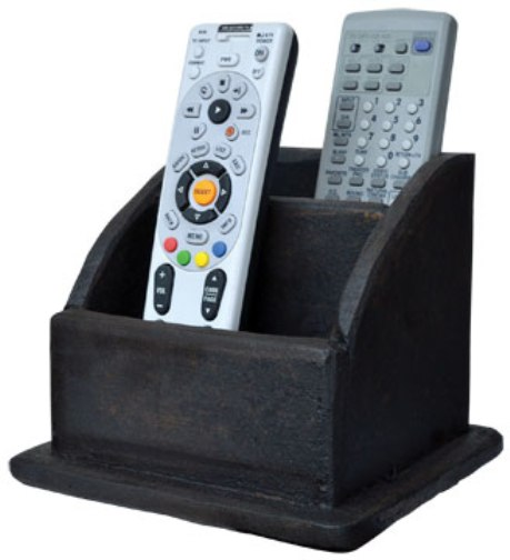 Primitive Distressed Wooden Double Remote Control Holder Organizer
