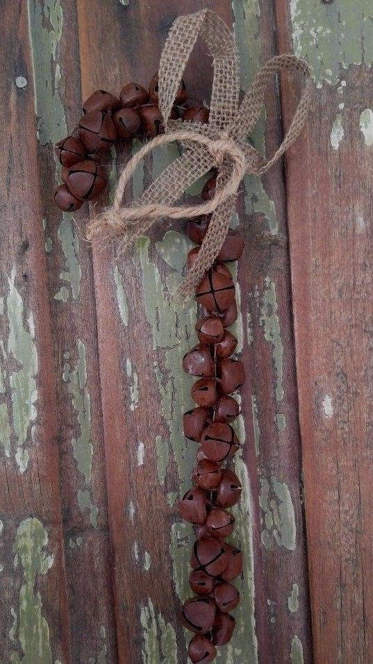 Primitive Rustic Country Rusty Jingle Bell Candy Cane Hanging Ornament
