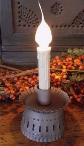 Primitive Rustic Country Punched Tin Electric Candle Holder