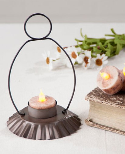 Primitive Country Colonial Tealight Candle Holder - Rustic Home Decor