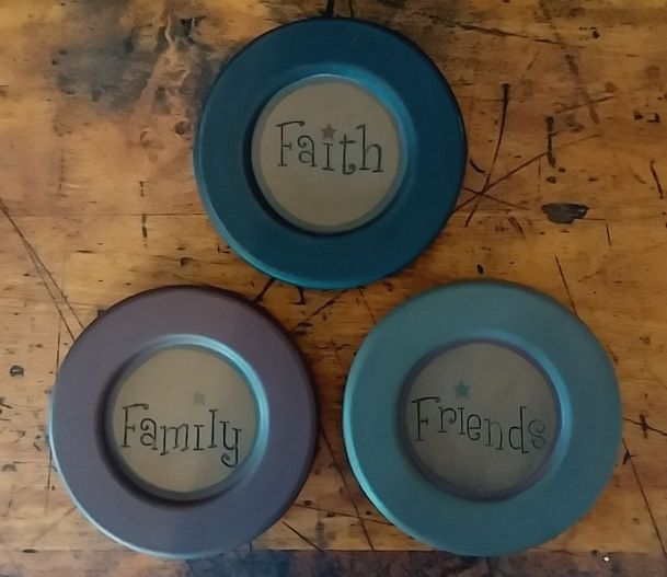Primitive Country Faith Family Friends Carved Wooden Plates