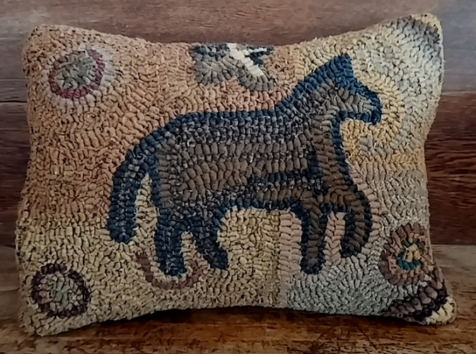 Primitive Hooked Wool Horse Pillow