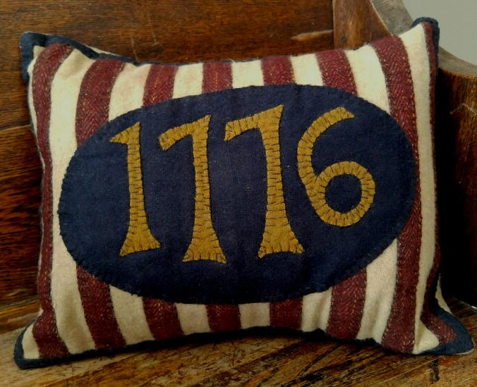 Primitive Country Patriotic Wool 1776 Home Decor Pillow