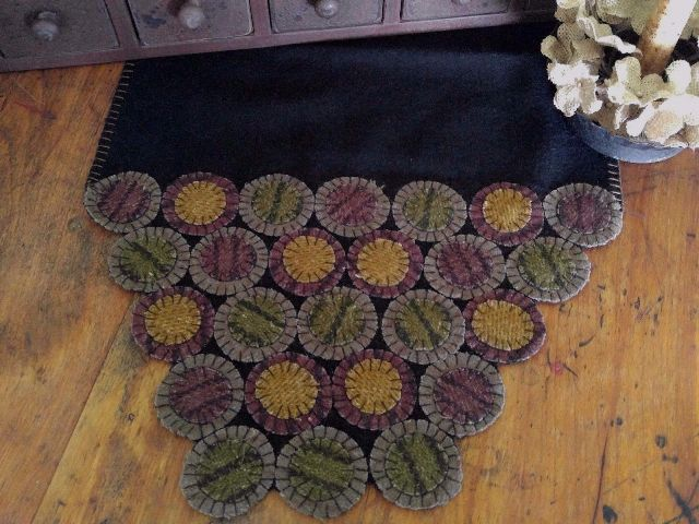 Primitive Country Wool Multicolored Penny Long Table Runner