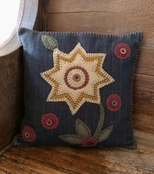 Rustic Wool Applique Button and Bloom Flower Primitive Accent Pillow