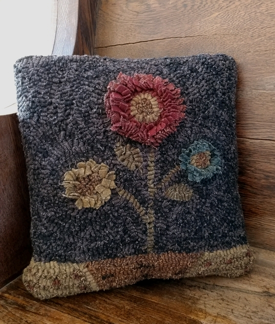 Rustic Hooked Wool Moon Flower Primitive Accent Pillow