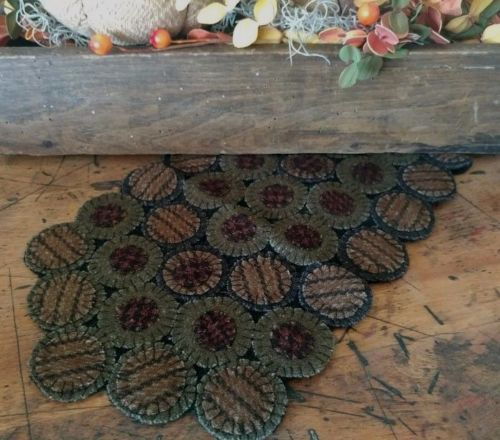 Rustic Farmhouse Wool Hand Stitched Penny Table Mat - Country Road