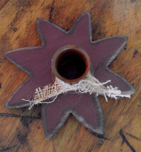 Primitive Country Wooden Burgandy Flower Taper Candle Holder