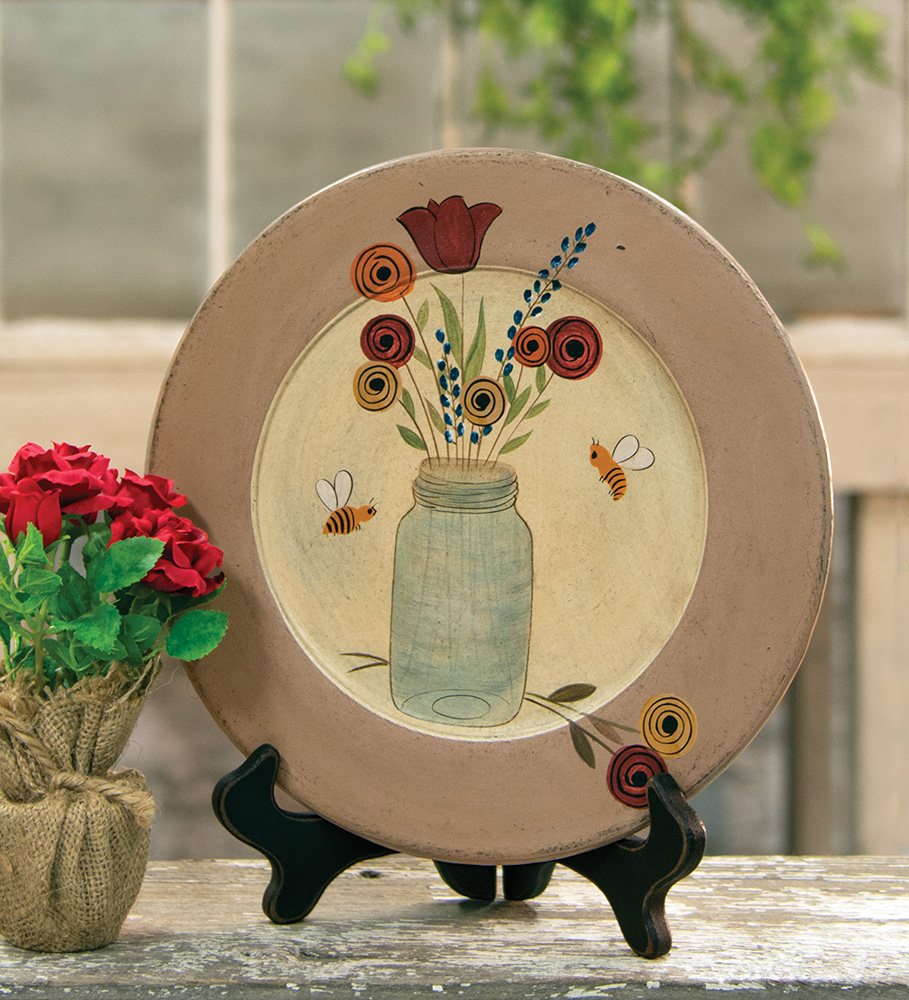 Country Cottage Bee, Flower and Mason Jar Wooden Decorative Plate