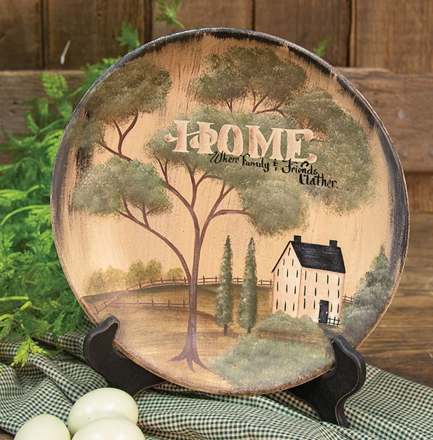 Country Saltbox House Home Gather Wooden Home Decor Plate