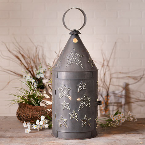 Rustic Punched Star Large Blacksmith's Electric Lantern