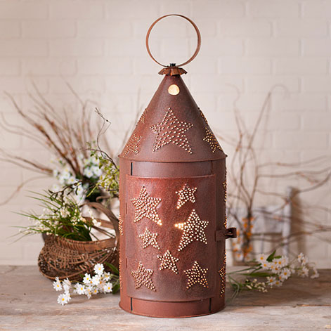 Rustic Punched Rusty Star Large Blacksmith's Electric Lantern