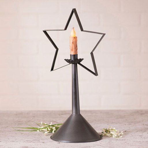 Country Farmhouse Star Taper Candle Holder