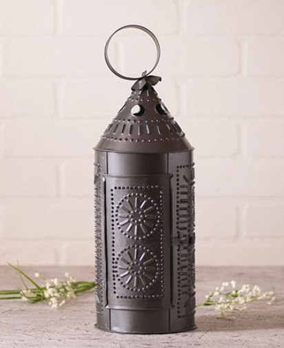 Primitive Country Punched Tin Sturbridge Lantern Candle Holder