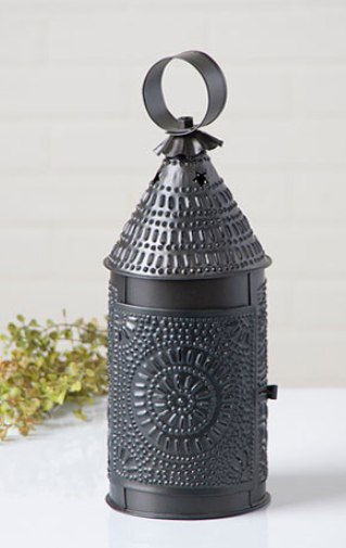 Primitive Country Punched Tin Baker's Lantern Taper Candle Holder - Smokey Black