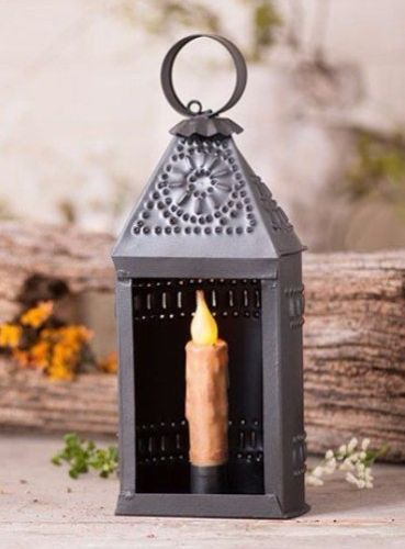 Rustic Primitive Farmhouse Punched Tin Ship Lantern Taper Candle Holder