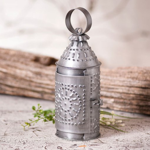 "Farmhouse Punched Tin Revere Lantern 9"" Taper Candle Holder"