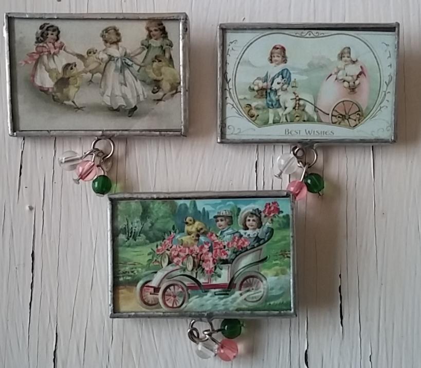 Vintage Postcard Inspired Spring /  Easter Pins