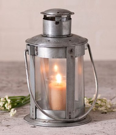 Farmhouse Cottage Industrial Pipe Lantern Pillar Candle Holder