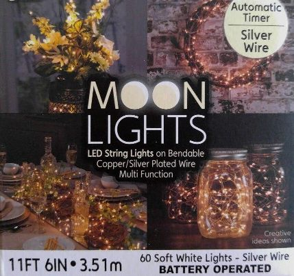 60 Count LED Battery Teardrop Moon Timer Twinkle / Fade Waterproof String Lights