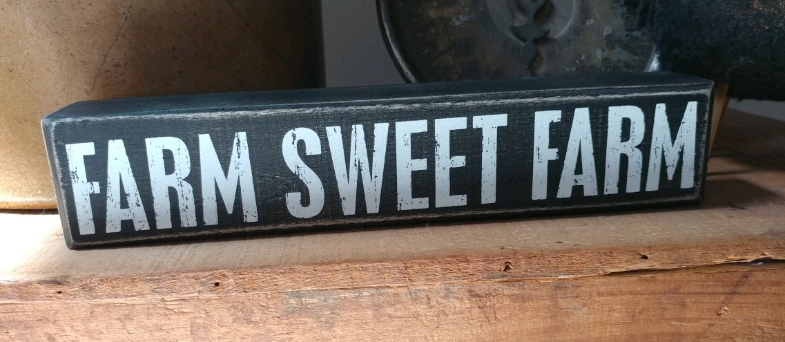 Rustic Farmhouse Farm Sweet Farm Wooden Message Block