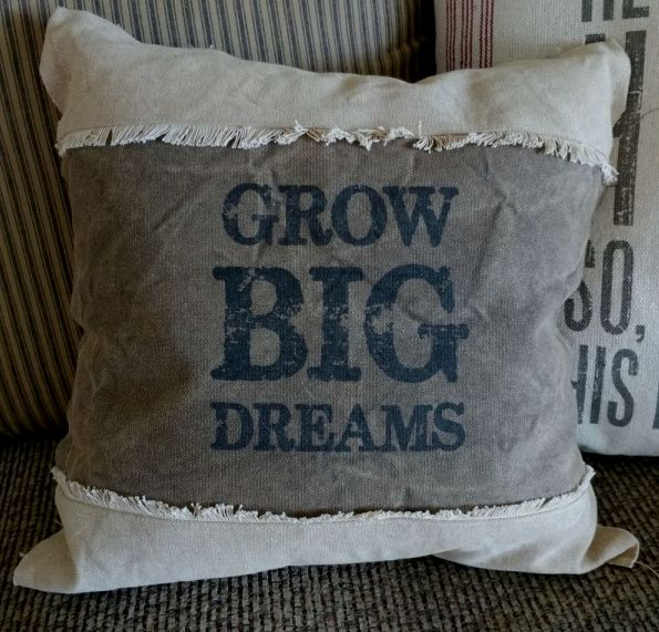 Rustic Farmhouse Summer Garden Grow Big Dreams Home Decor Accent Pillow