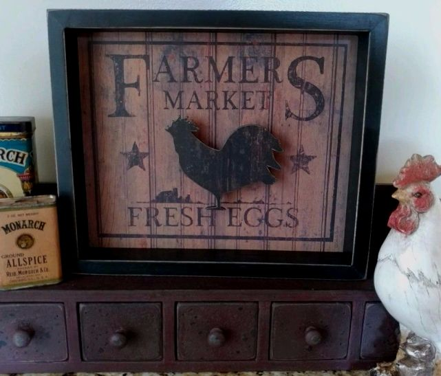 Rustic Farmhouse Farmers Market Fresh Eggs Rooster Reverse Kitchen Box sign