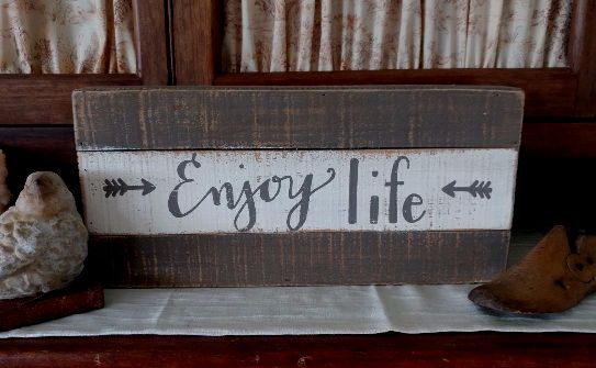 Farmhouse Country Enjoy Life Arrow Rustic Box Sign