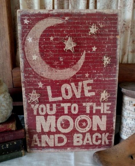 Rustic Country String Art To the Moon...Wooden Box Sign