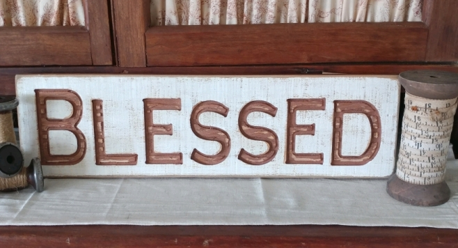 Farmhouse Country Blessed Carved Message Sign