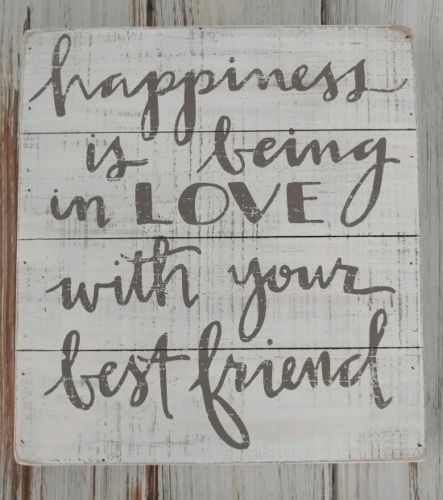 Cottage Farmhouse Happiness Love Best Friend Message Block Wood Sign