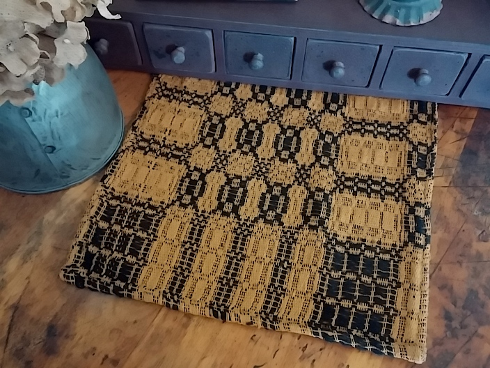 Primitive Country Woven Black & Mustard Table Runner