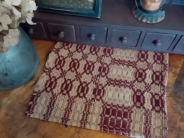 Primitive Country Woven Cranberry & Tan Short Table Runner