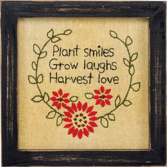 Primitive Country Plant Smiles Flower Framed Stitchery
