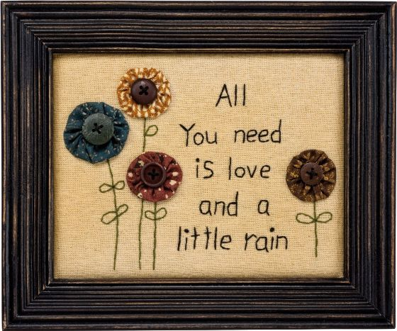 Primitive Country Need Love Yo Yo Flower Framed Stitchery