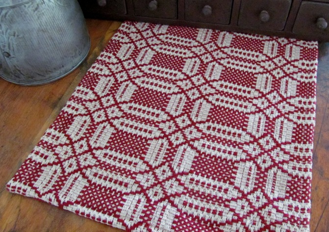 Primitive Country Woven Cranberry & Cream Short Table Runner