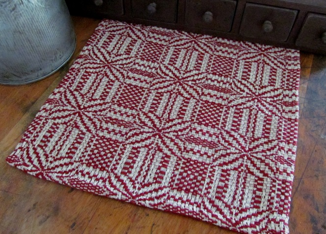 Primitive Country Woven Cranberry & Cream Table Runner #5070