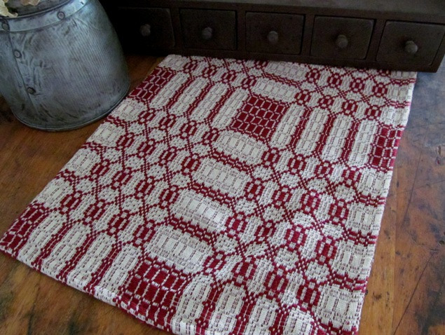 Westbury Cranberry & Cream Primitive Woven Table Runner