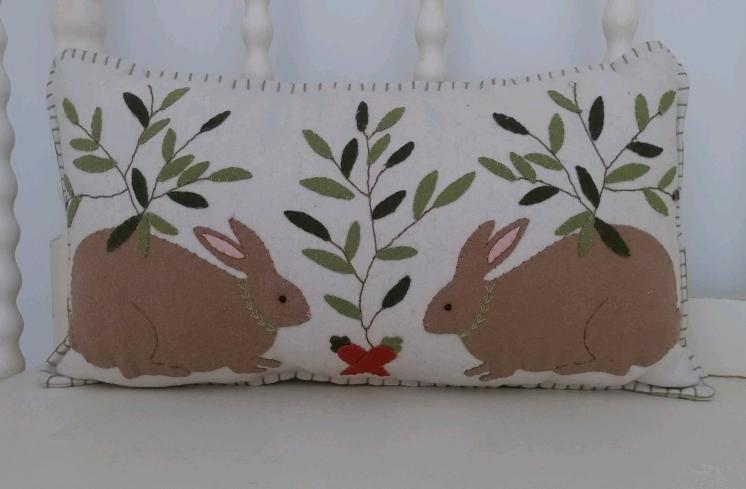 Folk Art Applique Bunny Pillow