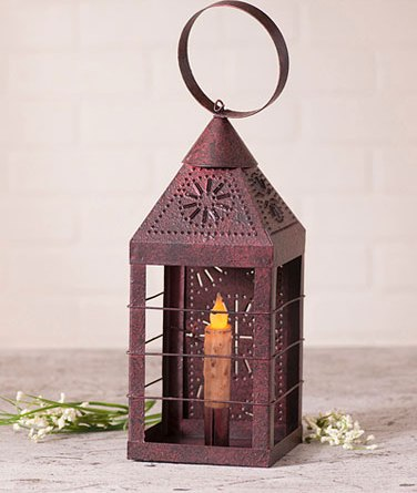 Country Punched Farmhouse Taper Candle Holder Lantern - Primitive Red
