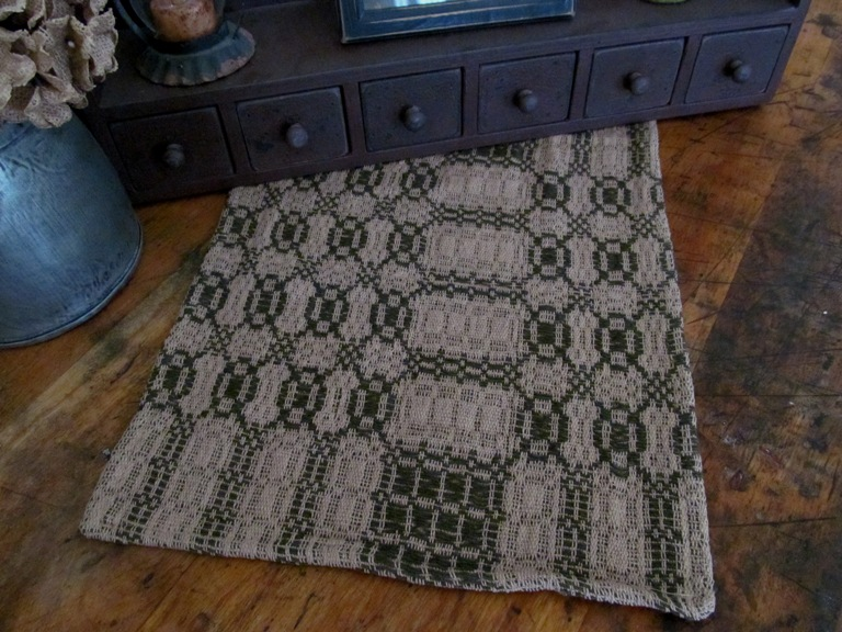 Primitive Country Woven Sage and Tan Table Runner