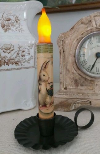 Vintage Inspired Garden Bunny with Veggie Basket Flameless Timer Taper Candle