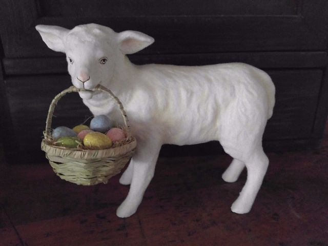 Vintage Inspired Easter Lamb with Egg Basket