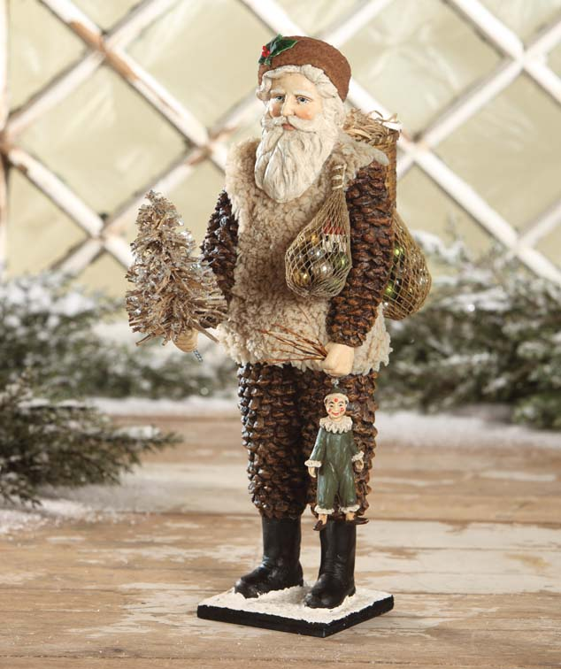 Vintage Inspired Rustic Pine Cone Santa Figure - Winter Decor