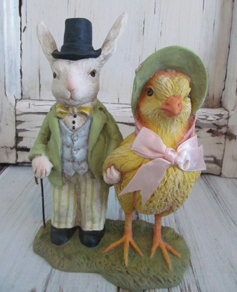 Vintage Inspired Evening Stroll - Chick and Bunny Figurine
