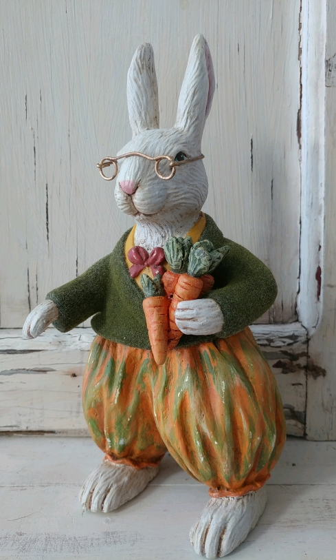 #TJ6221 Vintage Inspired Flocked Easter / Spring Bunny with Carrots