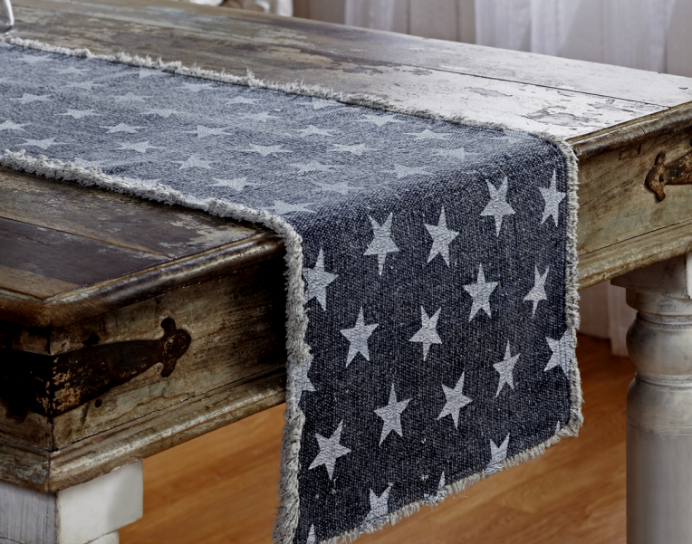 Rustic Patriotic Long Navy Multi Star Farmhouse Table Runner
